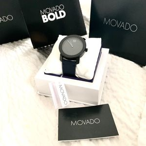NWT authentic MOVADO Bold leather strap watch